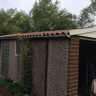Garage roof replacement before